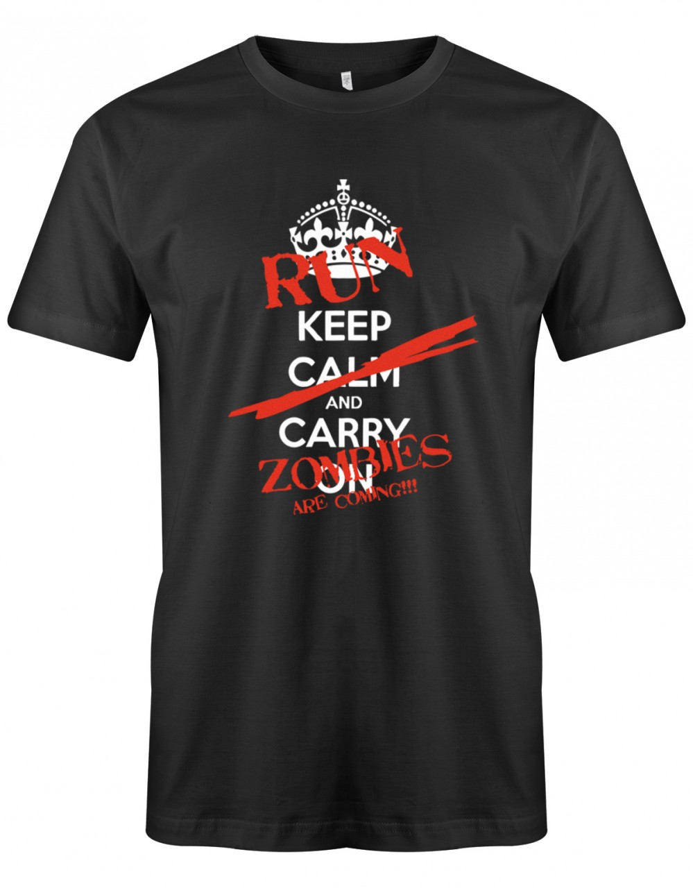 Keep Calm and Carry on Run zombies are coming - Halloween - Herren T-Shirt