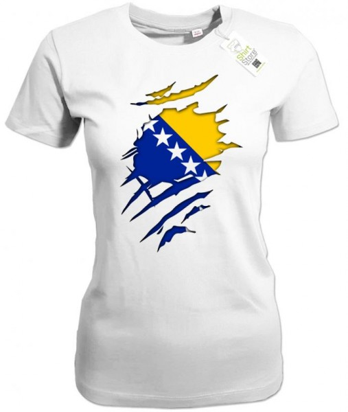 Bosnien Shirt aufgerissen - EM WM - Bosna Fan - Damen T-Shirt