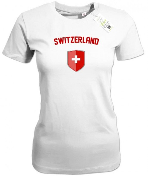 Switzerland - Fan T-Shirt EM WM Wappen - Mitte - Damen T-Shirt