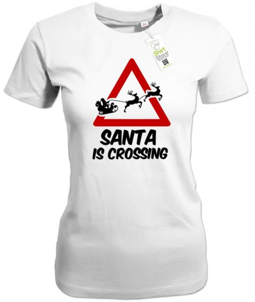 Santa is crossing - Weihnachten - Damen T-Shirt