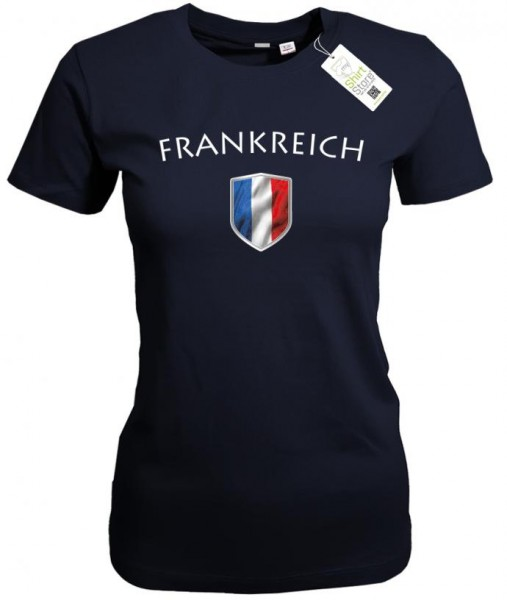Frankreich - Fan T-Shirt EM WM Wappen - France - Damen T-Shirt