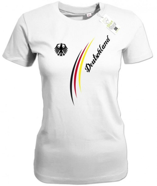 Deutschland Stripes Adler - EM WM - Fan - Damen T-Shirt