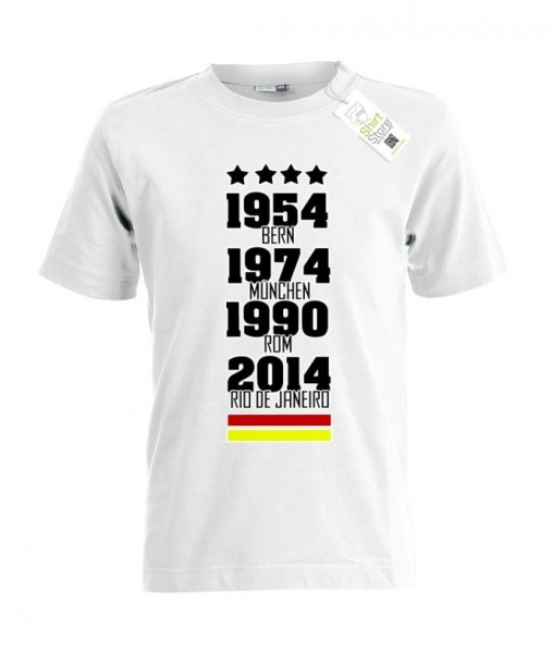 Deutschland WM Siege - 54 74 90 2014 - Fan - Kinder T-Shirt