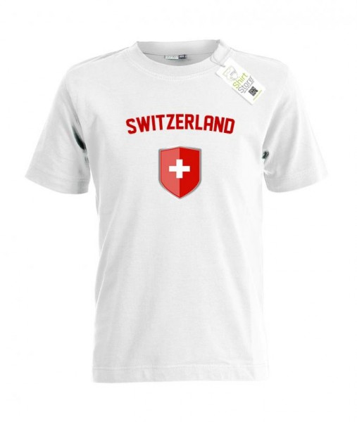 Switzerland - Fan T-Shirt - EM WM - Wappen Mitte - Schweiz Fan - Kinder T-Shirt