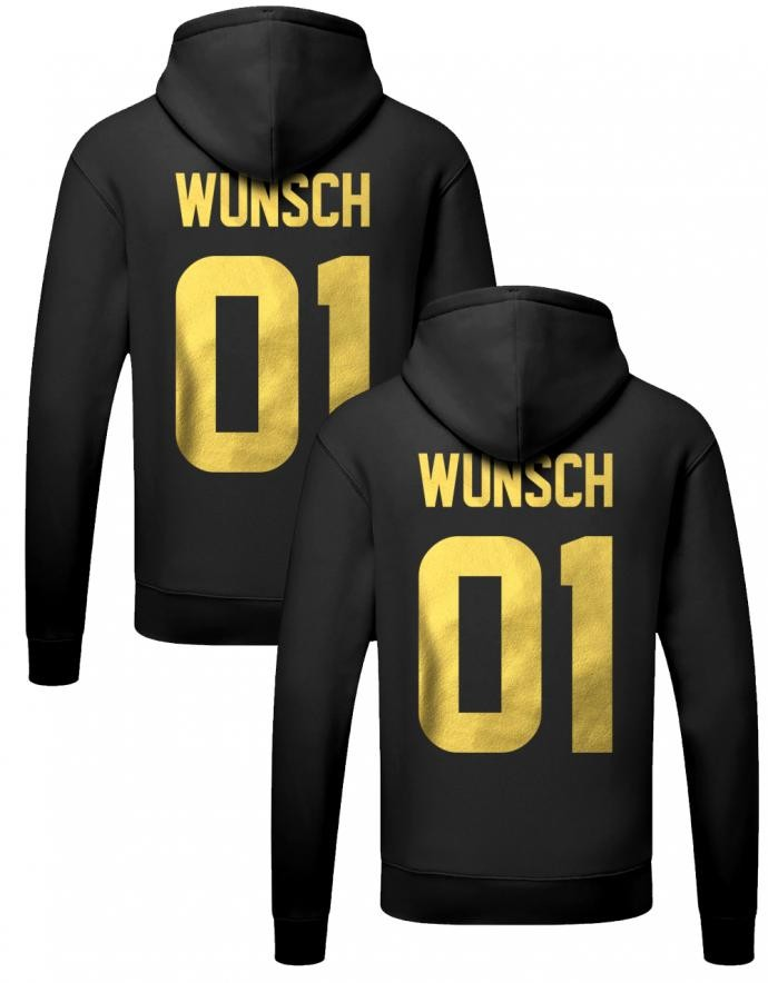 Couple Hoodie mit Wunschname & Nummer Gold | myShirtStore
