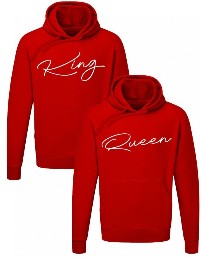Couple Hoodie Set King und Queen | myShirtStore Rot