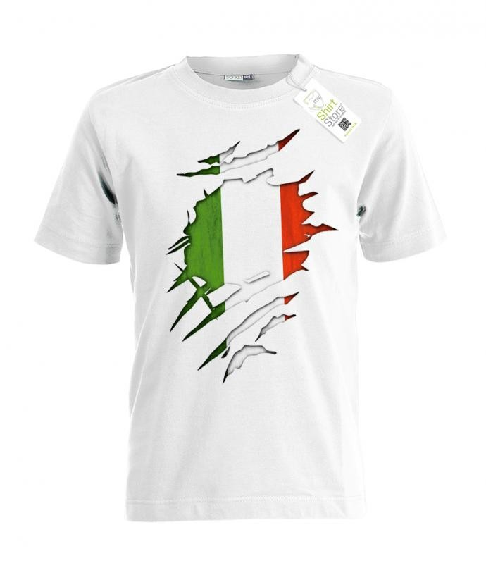 Italien - aufgerissenes Shirt - EM WM - Italia Fan - Kinder T-Shirt