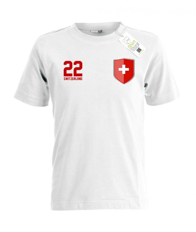 Switzerland 22 Wappen - EM WM - Schweiz Fan - Kinder T-Shirt