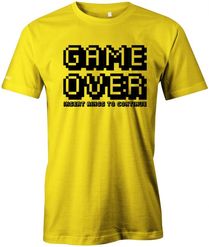 JGA - Game Over Insert Rings to continue - Herren T-Shirt Junggesellenabschied Gelb